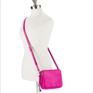 fossil Sydney Crossbody hot pink leather bag